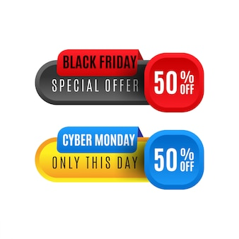 Banner di vendita black friday e cyber lunedì