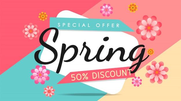 Banner di vendita colorato primavera