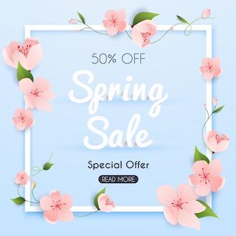 Banner di vendita con fiori, poster, flyer. illustrazione.