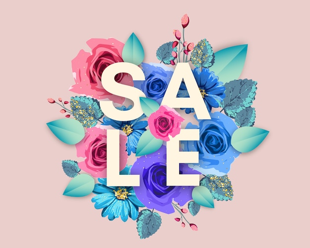 Banner di vendita con fiori