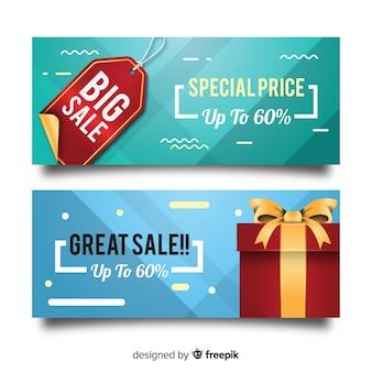 Banner di vendita con oggetti realistici
