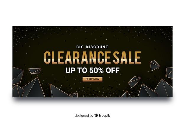 Banner di vendita d'oro con forme geometriche