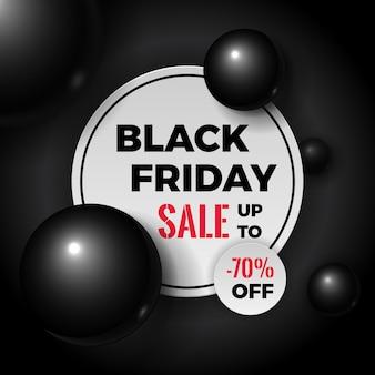 Banner di vendita del black friday. cerchio bianco posto sul buio con volumetrici ed eleganti bolle o sfere lucenti.