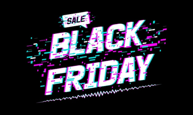 Banner di vendita del black friday, testo del black friday con effetto glitch.