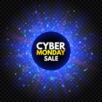 Banner di vendita del cyber monday con stella scintillante e luce di esplosione. insegna luminosa blu e viola, pubblicità notturna. vendita annuale. promozione di buoni affari.