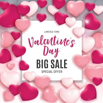 Banner di vendita di amore e sentimenti di san valentino