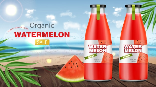 Banner di vendita di bottiglie di succo di anguria
