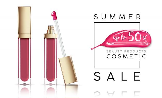 Banner di vendita di cosmetici con rossetto e striscio rosa.