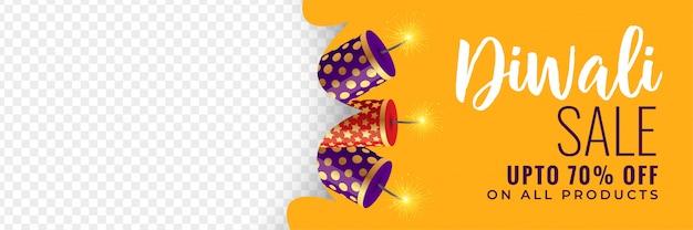 Banner di vendita di diwali con cracker