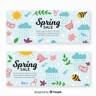 Banner di vendita di elementi di primavera