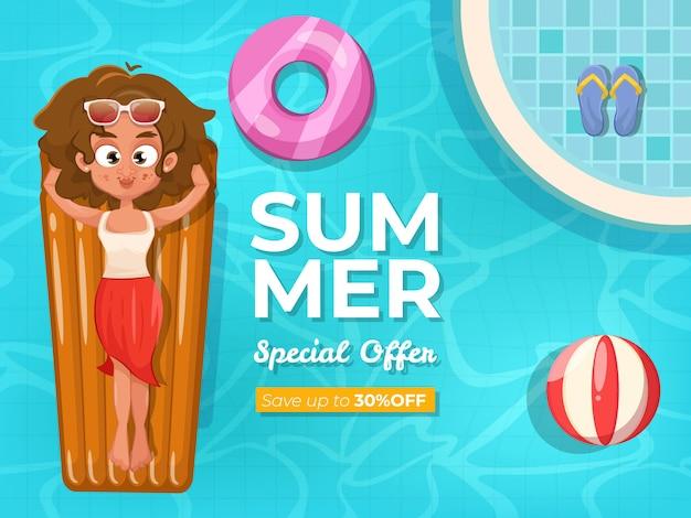 Banner di vendita di estate con piscina
