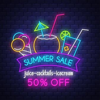 Banner di vendita di estate per bevande. insegna al neon.
