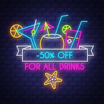 Banner di vendita di estate per bevande. insegna al neon
