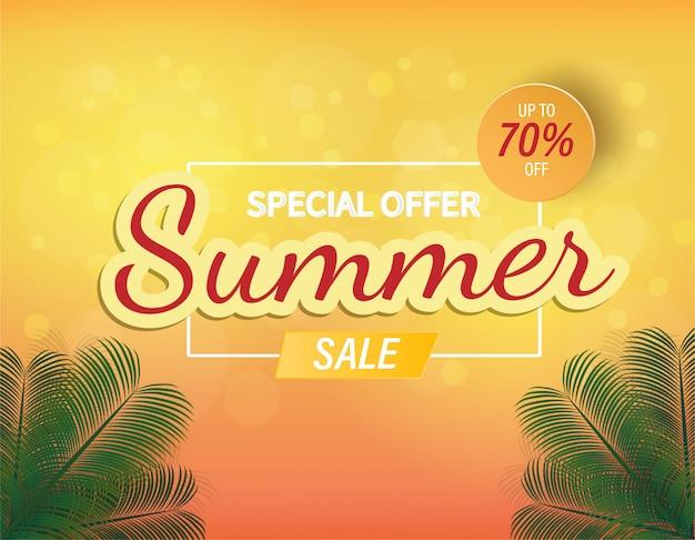 Banner di vendita di estate sfondo e offerta speciale vettoriale.