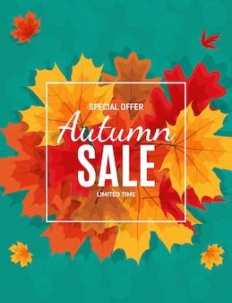 Banner di vendita di foglie di autunno lucido. carta sconto aziendale