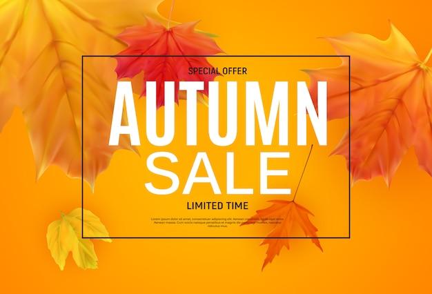 Banner di vendita di foglie di autunno lucido.