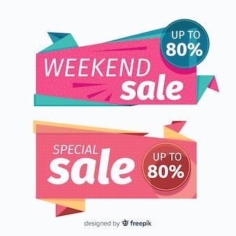 Banner di vendita di forme geometriche colorate
