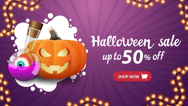 Banner di vendita di halloween, banner viola orizzontale