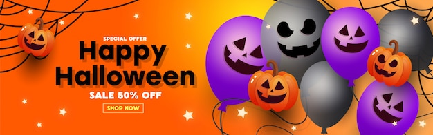 Banner di vendita di halloween con pipistrelli di carta, ragni e ragnatele.