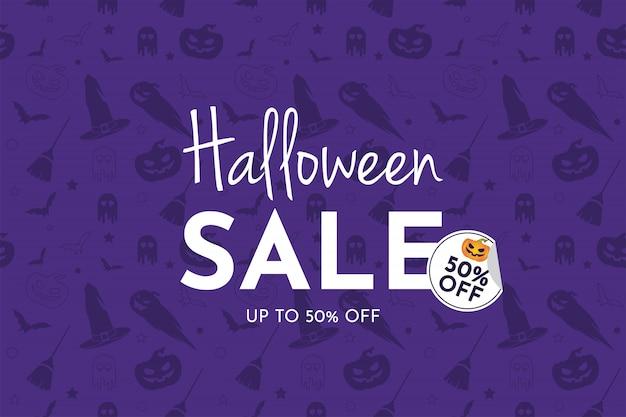 Banner di vendita di halloween con zucca, cappello da strega, ginestra, fantasma e pipistrello