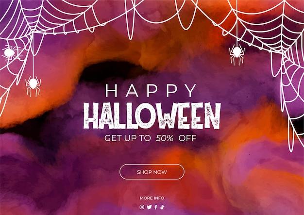 Banner di vendita di halloween in acquerello
