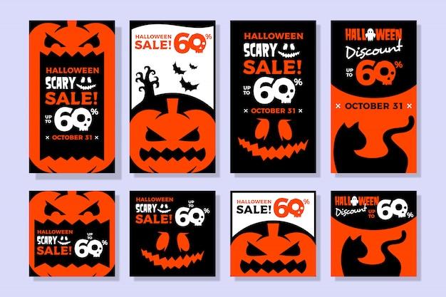 Banner di vendita di halloween per storia instagram e modello di alimentazione