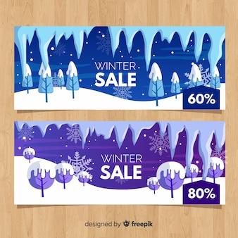 Banner di vendita di inverno albero innevato