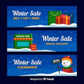 Banner di vendita di inverno del pupazzo di neve
