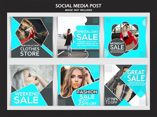 Banner di vendita di moda impostato per i social media