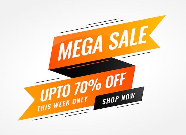 Banner di vendita di nastro arancione in stile memphis