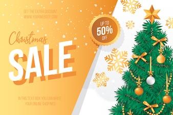 Banner di vendita di Natale con albero di Natale incantevole