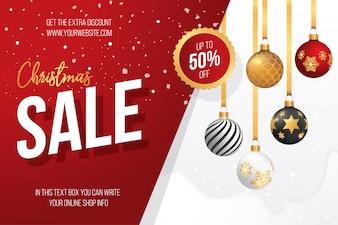 Banner di vendita di Natale con palle di Natale decorativi