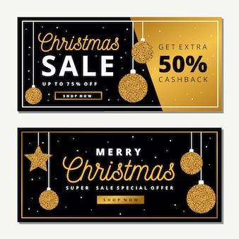 Banner di vendita di natale dorato