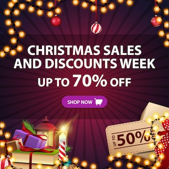 Banner di vendita di natale e settimana di sconto, fino al 70% di sconto, sconto quadrato viola con regali e decorazioni natalizie