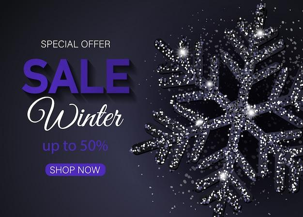 Banner di vendita di natale fatto di fiocchi di neve neri lucidi. sfondo di natale allegro con fiocchi di neve neri lucidi. illustrazione