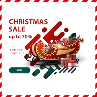 Banner di vendita di natale, fino al 70% di sconto, sconto rosso e verde pop-up con forme liquide astratte e slitta di babbo natale con regali.