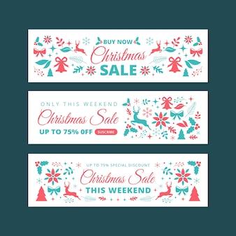 Banner di vendita di natale in design piatto