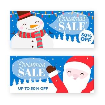 Banner di vendita di natale pupazzo di neve e santa
