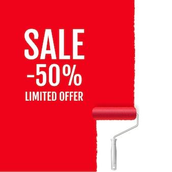 Banner di vendita di paint roller rosso e paint stroke