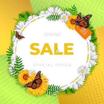 Banner di vendita di primavera con cornice floreale
