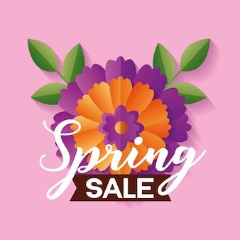 Banner di vendita di primavera con fiore