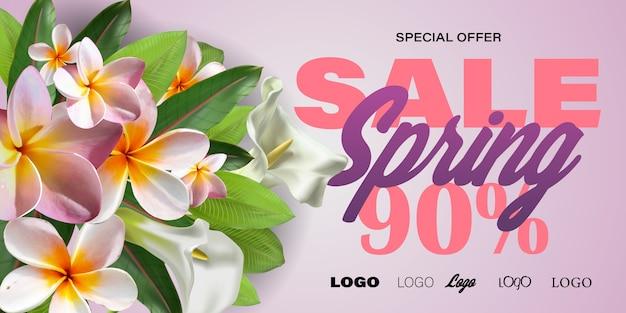 Banner di vendita di primavera con fiori di carta per lo shopping online, azioni pubblicitarie, riviste e siti web.