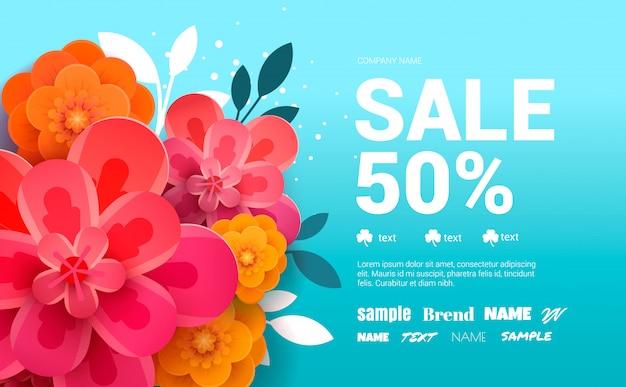 Banner di vendita di primavera con fiori e foglie.