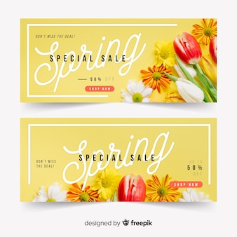 Banner di vendita di primavera con foto