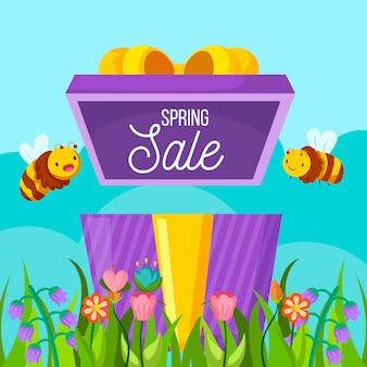 Banner di vendita di primavera design piatto con api