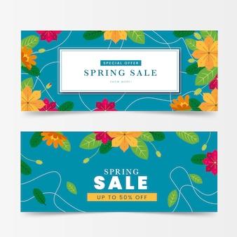 Banner di vendita di primavera in design piatto