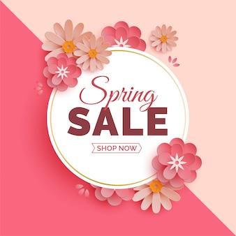 Banner di vendita di primavera moderna con fiori di carta 3d