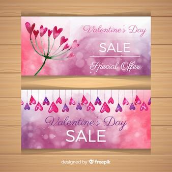 Banner di vendita di san valentino ad acquerello