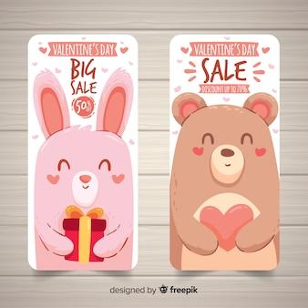 Banner di vendita di san valentino animali