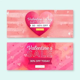 Banner di vendita di san valentino dell'acquerello